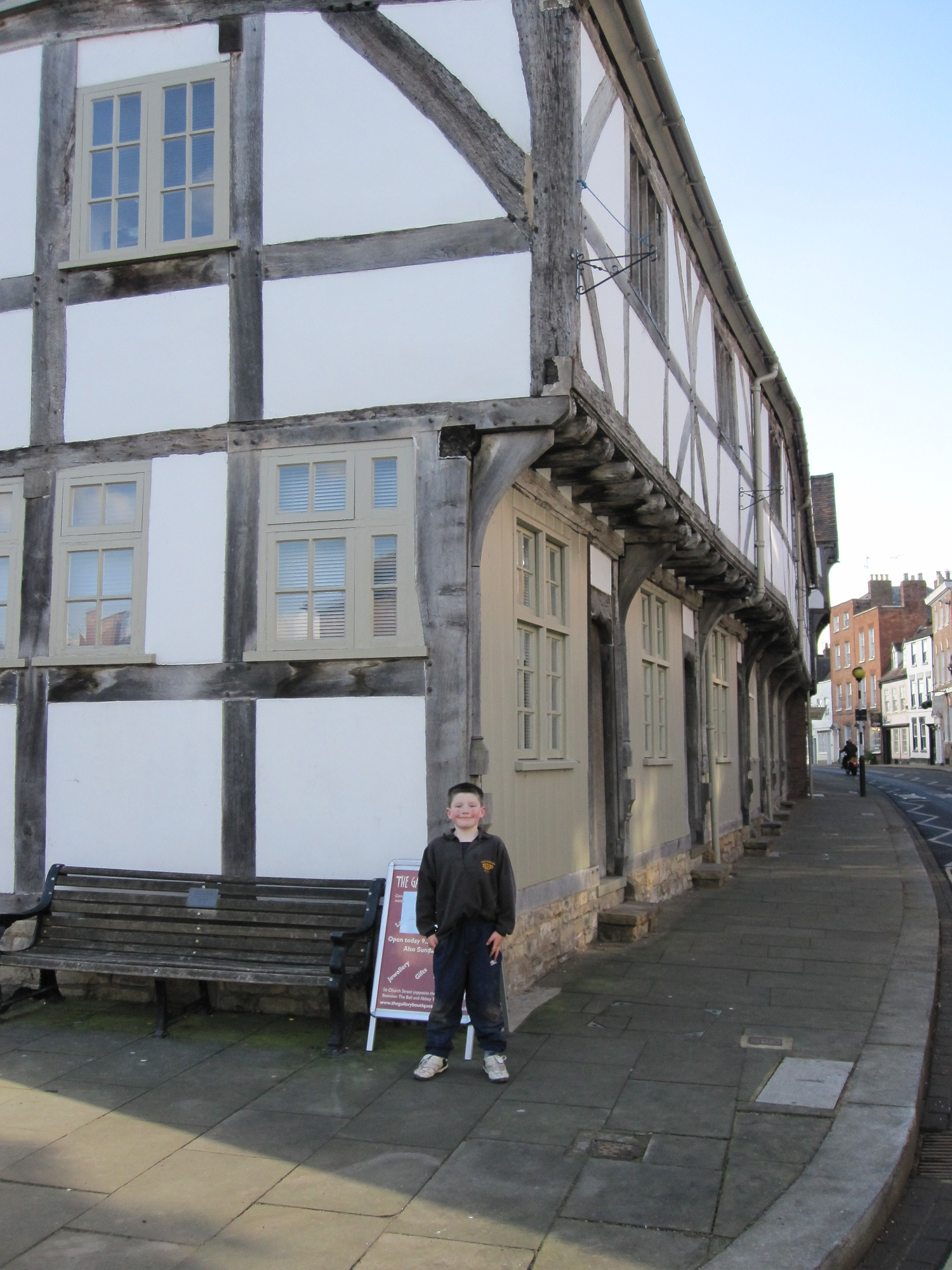Row of Tudor buildings in Tewkesbury